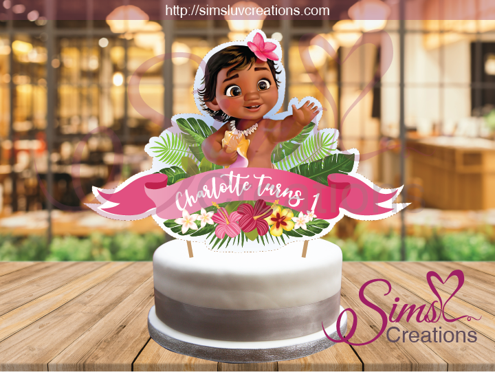 BABY MOANA CAKE TOPPER | CAKE CENTERPIECE | CAKE DECORATIONS | CUSTOM PHOTO