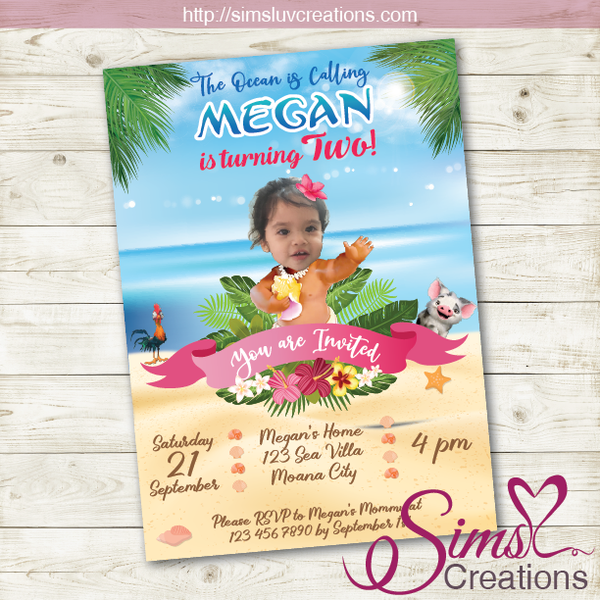 MOANA BIRTHDAY INVITATION | PARTY INVITATION | CUSTOM PHOTO