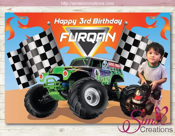 MONSTER TRUCK PRINTABLE BIRTHDAY BACKDROP BANNER | PARTY POSTER | CUSTOM PHOTO