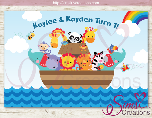 NOAH'S ARK PRINTABLE PARTY BACKDROP BANNER | TWO BY TWO TWINS BIRTHDAY POSTER