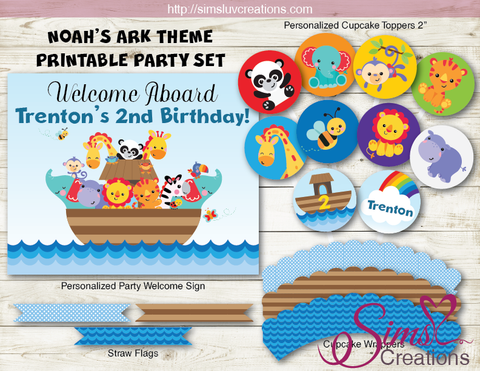 NOAH'S ARK BIRTHDAY PARTY DECORATION KIT | PARTY PRINTABLES