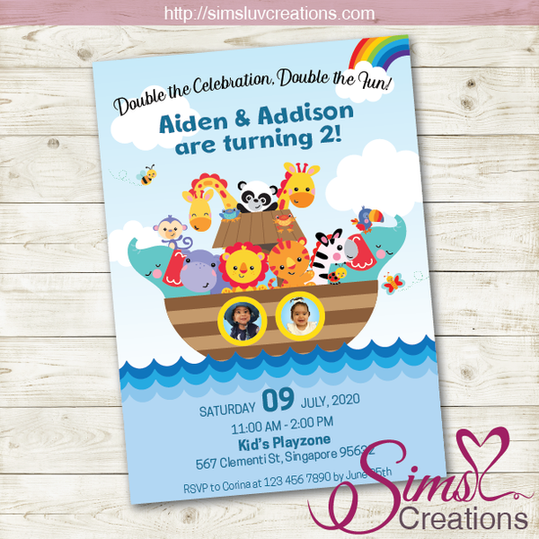 NOAH'S ARK BIRTHDAY PRINTABLE INVITATION | TWO BY TWO PARTY INVITATION