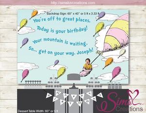 DR SEUSS PRINTABLE BIRTHDAY BANNER | OH THE PLACES YOU'LL GO PARTY BACKDROP | CUSTOM PHOTO