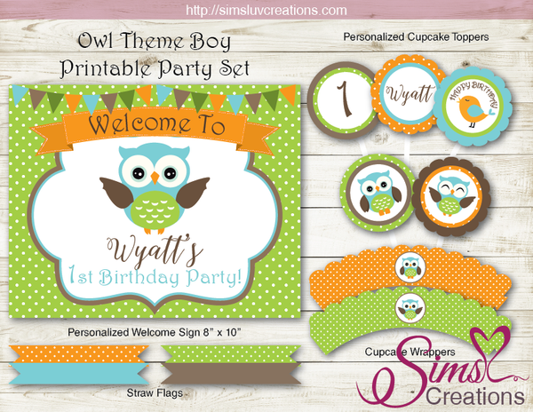 OWL BIRTHDAY PARTY KIT | WHOO WHOOO WOODLAND OWL BOY PARTY PRINTABLES