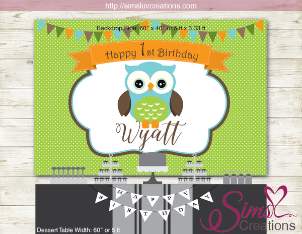 OWL THEME PRINTABLE BACKDROP BANNER | BOY OWL BIRTHDAY BACKDROP