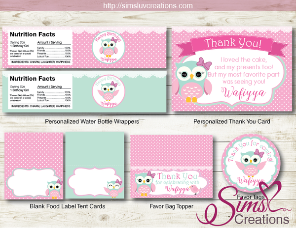 OWL BIRTHDAY PARTY KIT | WHOO WHOOO PINK OWL GIRL PARTY PRINTABLES
