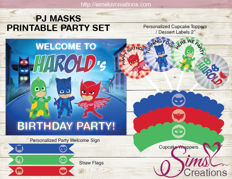 PJ MASKS BIRTHDAY PARTY KIT | BIRTHDAY DECORATION PARTY PRINTABLES
