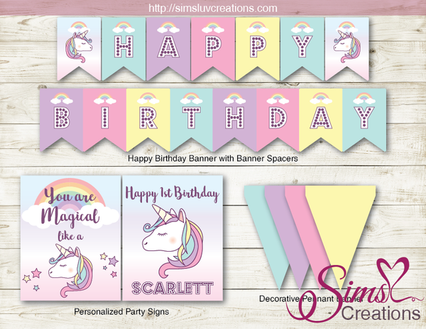 PASTEL UNICORN PARTY KIT | RAINBOW BIRTHDAY PARTY PRINTABLES