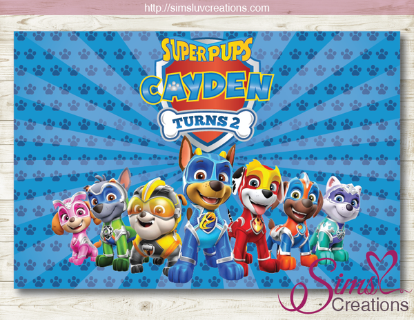 PAW PATROL SUPER PUPS BIRTHDAY PRINTABLE BACKDROP BANNER | MIGHTY PUPS SUPER PAWS PARTY POSTER
