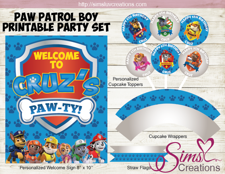 image about Printable Paw Patrol named PAW PATROL Topic Social gathering Resources Occasion PRINTABLES DECORATION Package