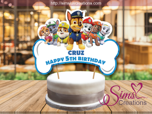 photograph relating to Paw Patrol Printable Decorations titled PAW PATROL BIRTHDAY CAKE TOPPER CAKE CENTERPIECE CAKE DECORATIONS