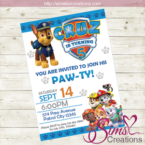 PAW PATROL BIRTHDAY PRINTABLE INVITATION | BOY AND GIRL PARTY INVITATION