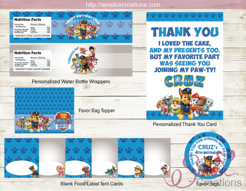 picture regarding Paw Patrol Printable Birthday Card named PAW PATROL Concept Get together Resources Social gathering PRINTABLES DECORATION Package