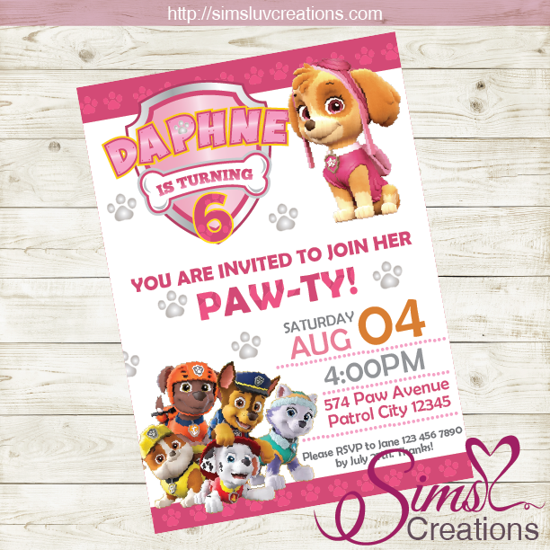 photograph about Printable Paw Patrol Birthday Invitations called PAW PATROL BIRTHDAY PRINTABLE INVITATION BOY AND Lady Occasion INVITATION