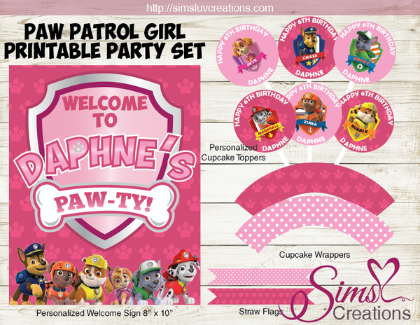 PAW PATROL THEME PARTY SUPPLIES | PARTY PRINTABLES DECORATION KIT