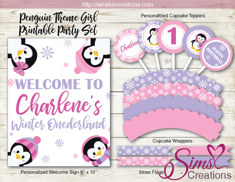 Penguin Girl Birthday Party Kit Winter Wonderland Party Printables