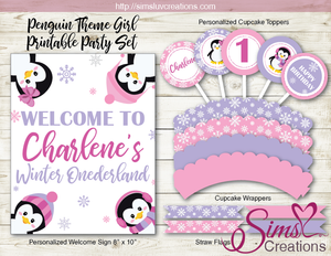 PENGUIN GIRL BIRTHDAY PARTY KIT | WINTER WONDERLAND PARTY PRINTABLES