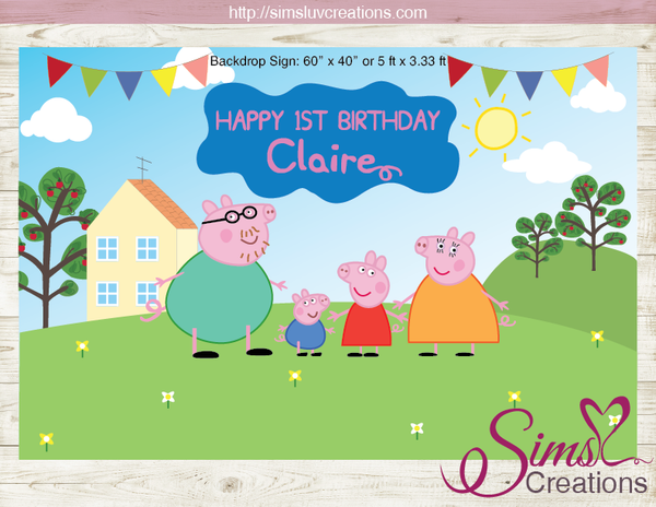 PEPPA PIG PARTY BACKDROP BANNER | BIRTHDAY POSTER