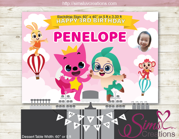 PINK FONG & FRIENDS PRINTABLE PARTY BACKDROP BANNER | HOGI BIRTHDAY POSTER