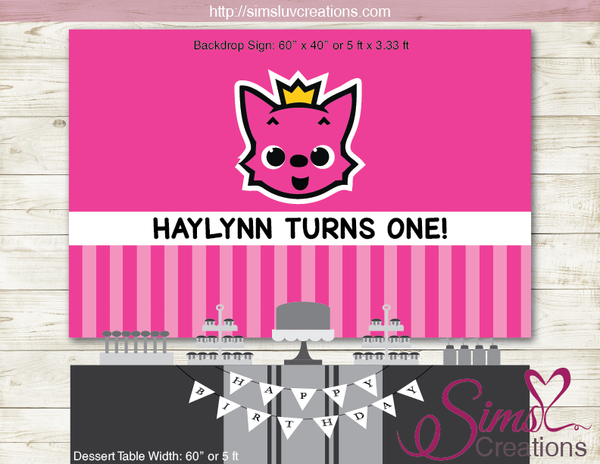 PINK FONG & HOGI PRINTABLE PARTY BACKDROP BANNER | BIRTHDAY POSTER DIGITAL FILE