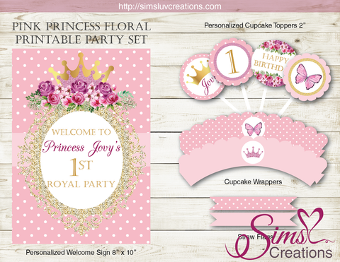 PINK PRINCESS THEME PARTY PRINTABLES KIT | FLORAL PRINCESS ROYAL PARTY DECORATION KIT