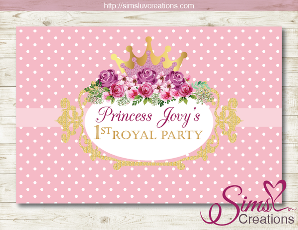 PINK PRINCESS PARTY BACKDROP BANNER | PRINCESS ROYAL BIRTHDAY BACKDROP