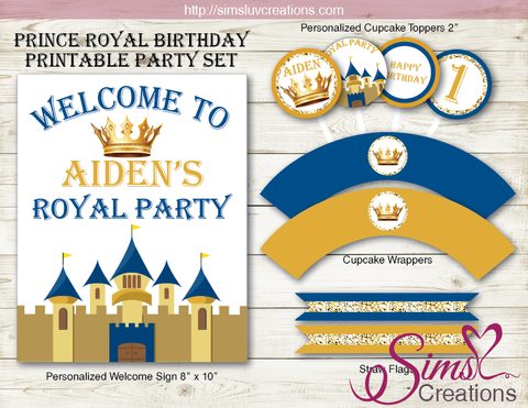 ROYAL BLUE AND GOLD PRINCE THEME PARTY PRINTABLES KIT | ROYAL PARTY DECORATION KIT