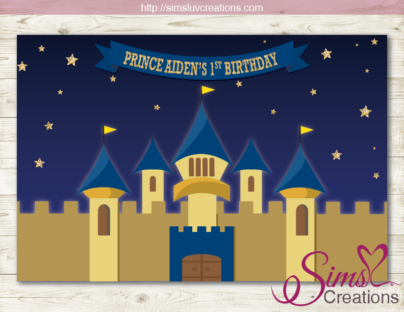 ROYAL BLUE AND GOLD PRINCE PARTY BACKDROP BANNER | CASTLE ROYAL BIRTHDAY BACKDROP