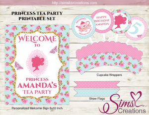 PRINCESS TEA PARTY PRINTABLES KIT | PRINCESS THEME BIRTHDAY