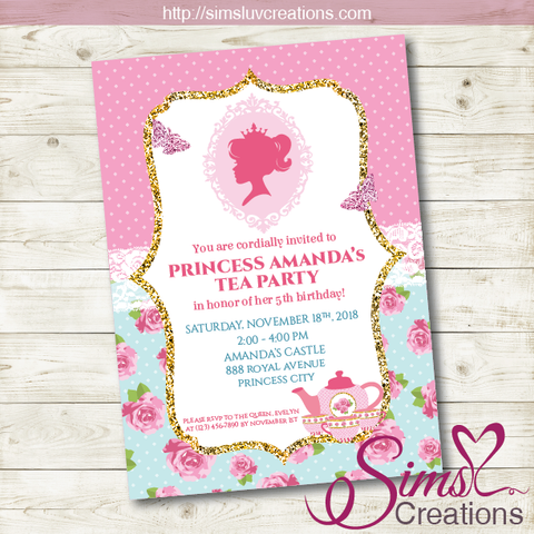 PRINCESS TEA PARTY BIRTHDAY PRINTABLE INVITATION | PRINCESS TEA PARTY INVITATION