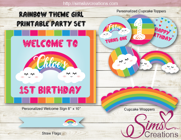 RAINBOW THEME PARTY SUPPLIES | PARTY PRINTABLES DECORATION KIT