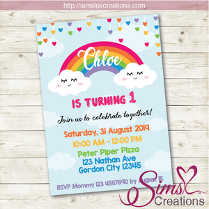RAINBOW BIRTHDAY PRINTABLE INVITATION | PARTY INVITE