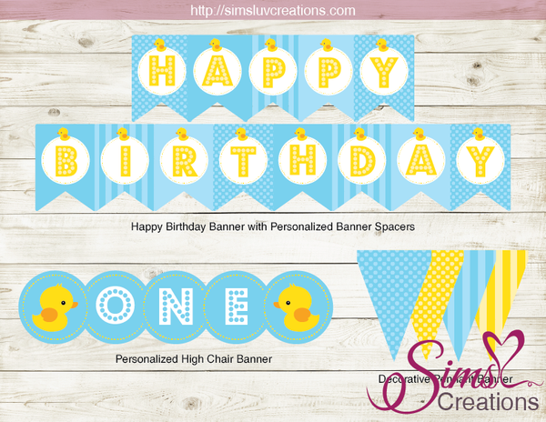 RUBBER YELLOW DUCK BIRTHDAY PARTY KIT | LITTLE DUCKLING DECORATION PARTY PRINTABLES