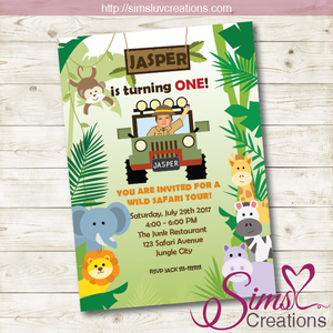 SAFARI BIRTHDAY INVITATION JUNGLE PARTY INVITATION Sims Luv