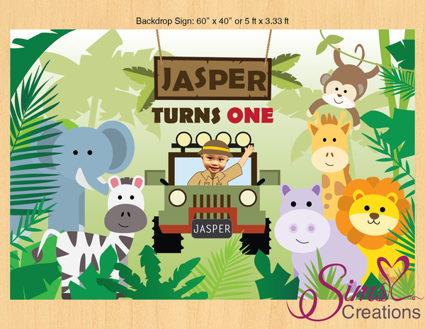 SAFARI THEME PRINTABLE BACKDROP BANNER | CUSTOM PHOTO