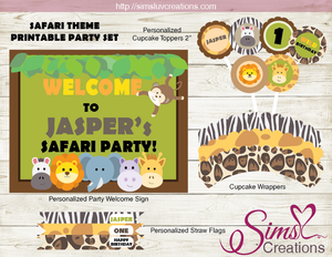 photo relating to Printable Safari Animals identify SAFARI Pets Get together PRINTABLE Package JUNGLE Get together PRINTABLES