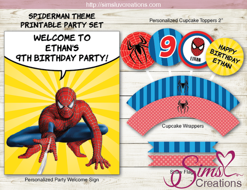 SPIDERMAN BIRTHDAY PARTY DECORATION KIT | MARVEL SUPERHEROES SPIDER-MAN PARTY PRINTABLES