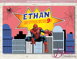 SPIDERMAN THEME PRINTABLE BACKDROP BANNER | MARVEL SPIDER-MAN BIRTHDAY BACKDROP