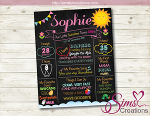 YOU ARE MY SUNSHINE MILESTONE BOARD | SUNSHINE GIRL BIRTHDAY CHALKBOARD POSTER