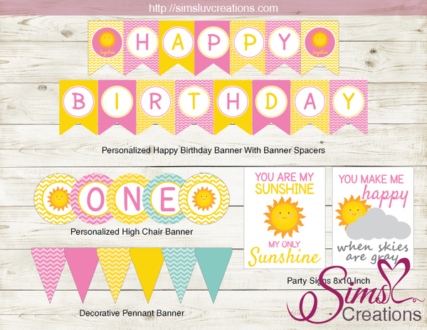 YOU ARE MY SUNSHINE BIRTHDAY PARTY KIT | SUNSHINE GIRL PARTY PRINTABLES