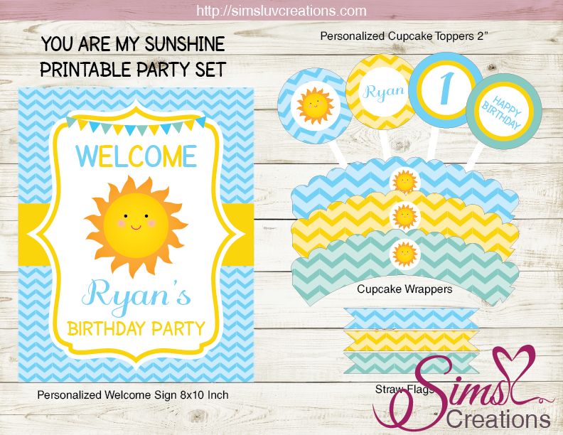 You Are My Sunshine Birthday Party Kit Sunshine Boy Party Printables