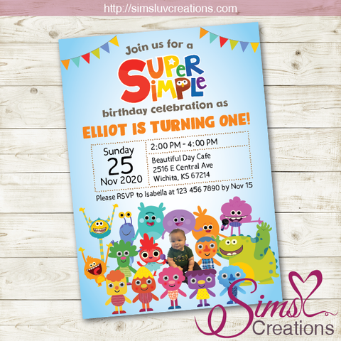 SUPER SIMPLE SONGS BIRTHDAY INVITATION | PARTY INVITATION | CUSTOM PHOTO