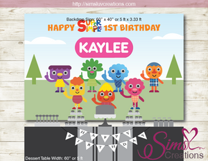 SUPER SIMPLE CHARACTERS THEME PRINTABLE PARTY POSTER | NOODLE & PALS BIRTHDAY BACKDROP