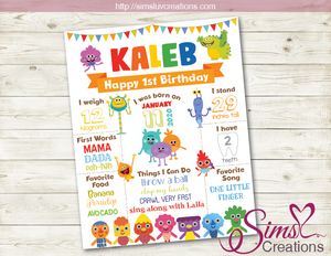 SUPER SIMPLE SONGS MILESTONE POSTER | BIRTHDAY CHALKBOARD | CUSTOM PHOTO