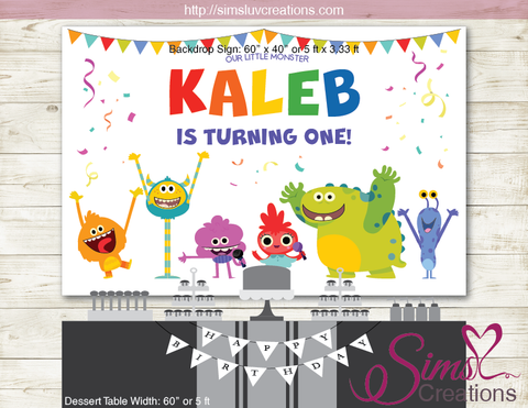 SUPER SIMPLE MONSTERS PARTY BACKDROP BANNER | BIRTHDAY BACKDROP | CUSTOM PHOTO