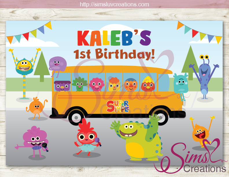 SUPER SIMPLE SONGS PARTY BACKDROP BANNER | BIRTHDAY BACKDROP | CUSTOM PHOTO