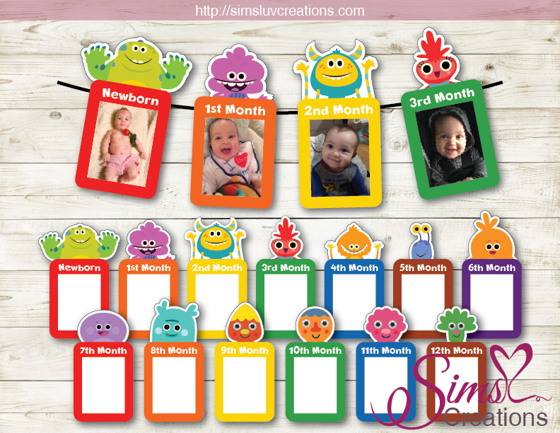 SUPER SIMPLE SONGS THEME PRINTABLE MONTHLY PHOTO BANNER | FIRST BIRTHDAY MONTHLY PHOTO BADGES