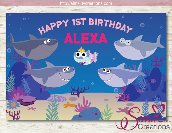SUPER SIMPLE BABY SHARK PRINTABLE BACKDROP BANNER | SHARK BIRTHDAY POSTER
