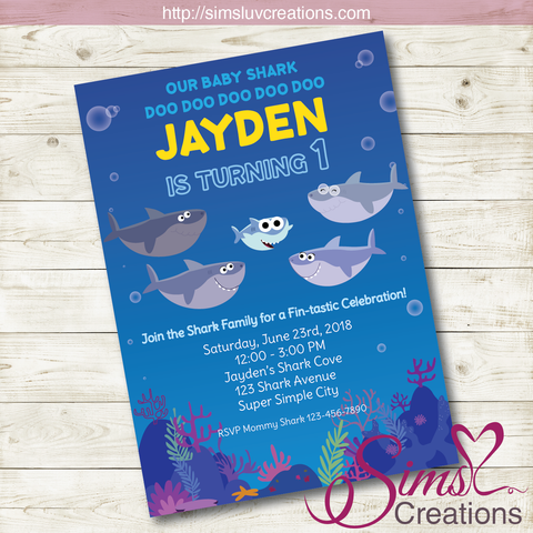 SUPER SIMPLE BABY SHARK BIRTHDAY PRINTABLE INVITATION | BABY SHARK PARTY INVITATION