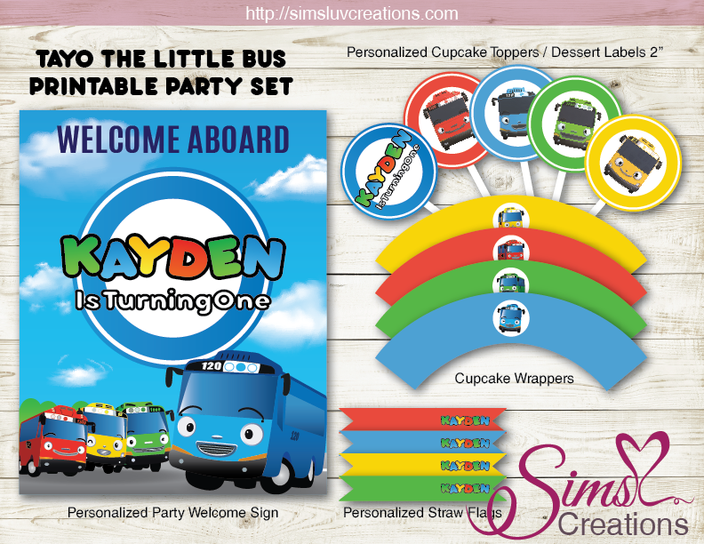 TAYO THE LITTLE BUS BIRTHDAY PARTY KIT | TAYO BIRTHDAY PARTY PRINTABLES